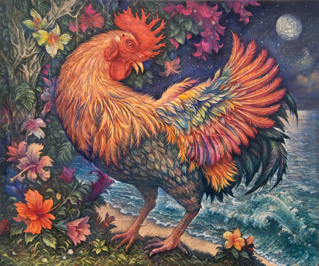 ROOSTER UNDER THE MOON
