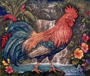 南洋密林雄鶏之圖