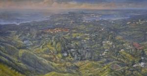 Top of the Hill in Santa Rita 2013-14 oil tempera wood panel 45×28inches