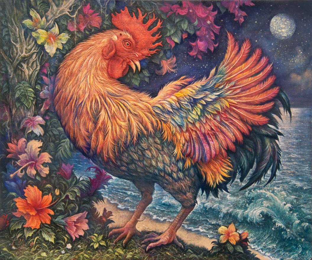 南洋密林月下雄鶏之圖